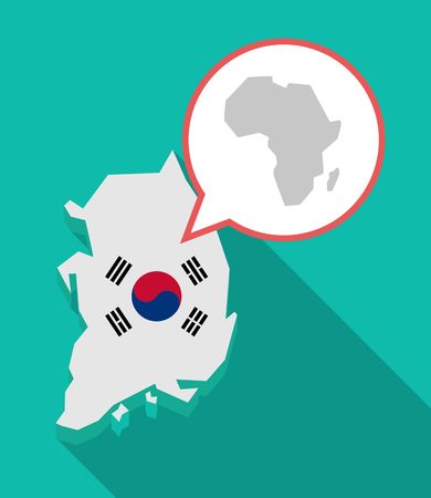 Illustration of a long shadow South Korea map, his flag and a comic balloon with  a map of the african continent Ilustração