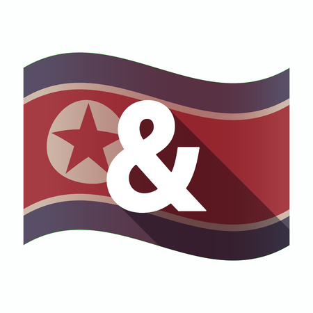 republic of korea: Illustration of a long shadow North Korea flag with an ampersand