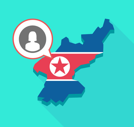 Illustration of a long shadow North Korea map, his flag and a comic balloon with a female avatar