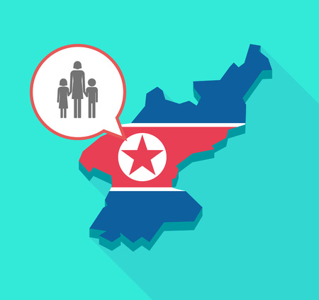 Illustration of a long shadow North Korea map, his flag and a comic balloon with a female single parent family pictogram