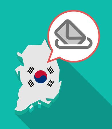 official ballot: Illustration of a long shadow South Korea map, his flag and a comic balloon with  a ballot box
