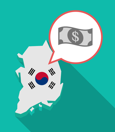 Illustration of a long shadow South Korea map, his flag and a comic balloon with a dollar bank note Illustration