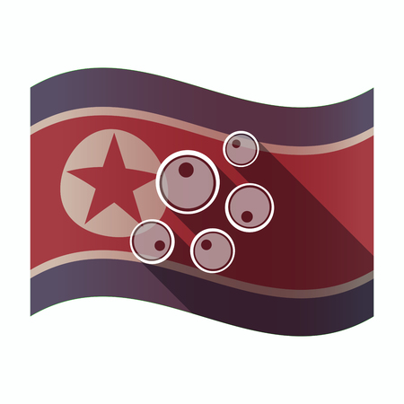 Illustration of a long shadow North Korea flag with oocytes Ilustrace