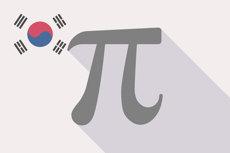 Illustration of a long shadow South Korea flag with the number pi symbol Çizim