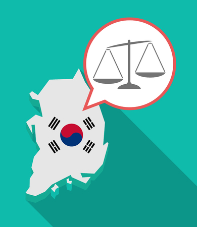 Illustration of a long shadow South Korea map, his flag and a comic balloon with  an unbalanced weight scale Çizim
