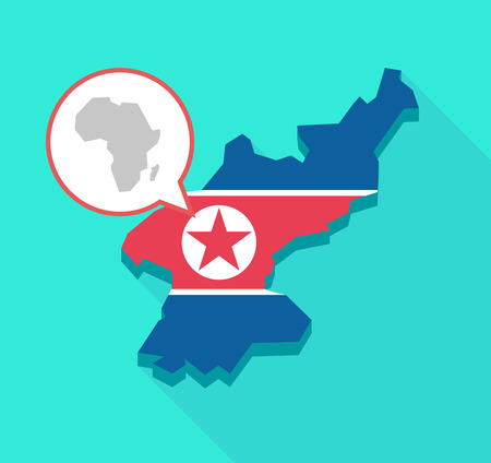 Illustration of a long shadow North Korea map, his flag and a comic balloon with  a map of the african continent Ilustração