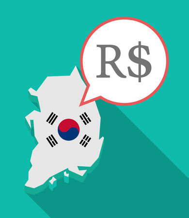 republic of korea: Illustration of a long shadow South Korea map, his flag and a comic balloon with a brazillian real currency sign