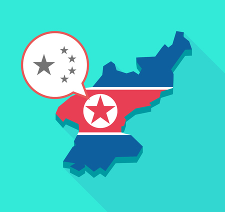 Illustration of a long shadow North Korea map, his flag and a comic balloon with  the five stars china flag symbol