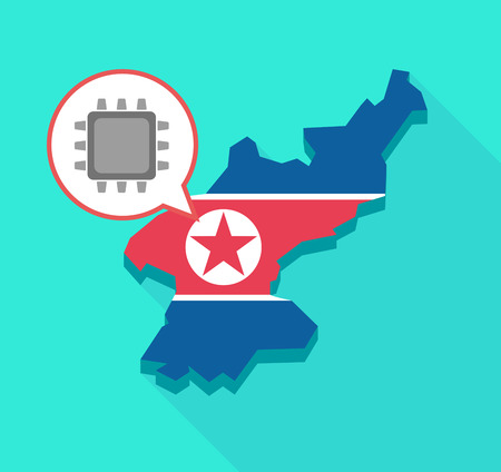 Illustration of a long shadow North Korea map, his flag and a comic balloon with a cpu
