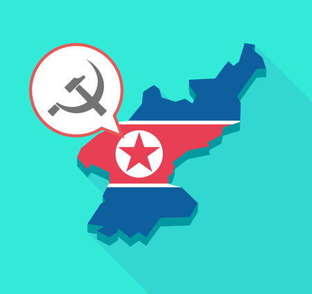socialist: Illustration of a long shadow North Korea map, his flag and a comic balloon with  the communist symbol