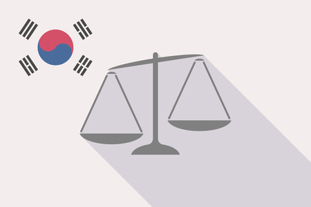 republic of korea: Illustration of a long shadow South Korea flag with  an unbalanced weight scale