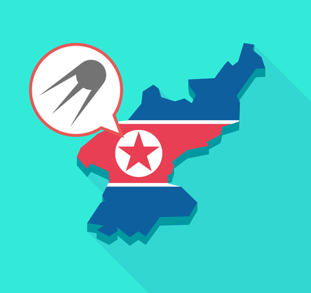 Illustration of a long shadow North Korea map, his flag and a comic balloon with a vintage satellite
