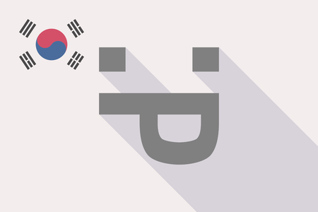 Illustration of a long shadow South Korea flag with a sticking out tongue text face