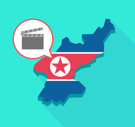 Illustration of a long shadow North Korea map, his flag and a comic balloon with a clapperboard