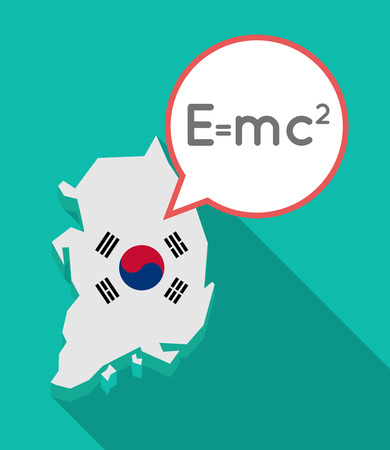 Illustration of a long shadow South Korea map, his flag and a comic balloon with the Theory of Relativity formula