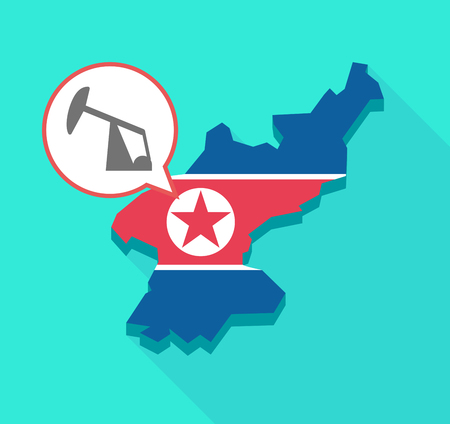 Illustration of a long shadow North Korea map, his flag and a comic balloon with a horsehead pump Illustration