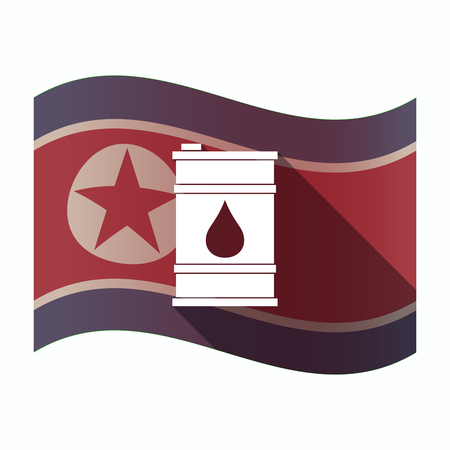 Illustration of a long shadow North Korea flag with a barrel of oil Ilustrace
