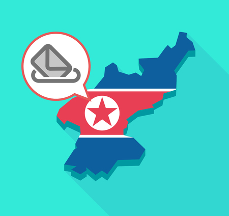 Illustration of a long shadow North Korea map, his flag and a comic balloon with  a ballot box Illustration