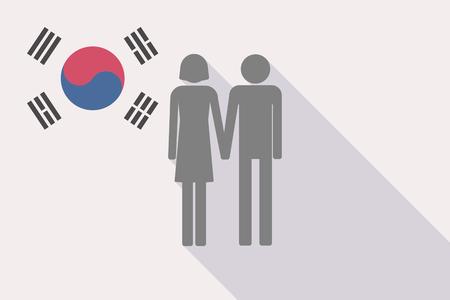 長い影韓国地図 彼の旗と異性カップル ピクトグラムと漫画風船のイラストのイラスト素材 ベクタ Image