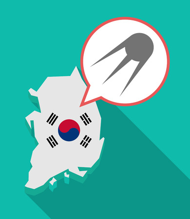 Illustration of a long shadow South Korea map, his flag and a comic balloon with a vintage satellite