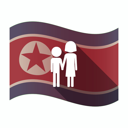 Illustration of a long shadow North Korea flag with a childhood pictogram