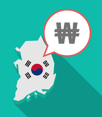 Illustration of a long shadow South Korea map, his flag and a comic balloon with a won currency sign Illustration