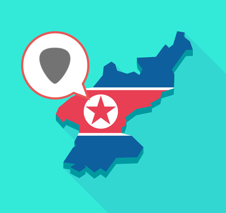 republic of korea: Illustration of a long shadow North Korea map, his flag and a comic balloon with a plectrum