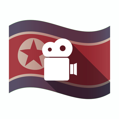 Illustration of a long shadow North Korea flag with a film camera