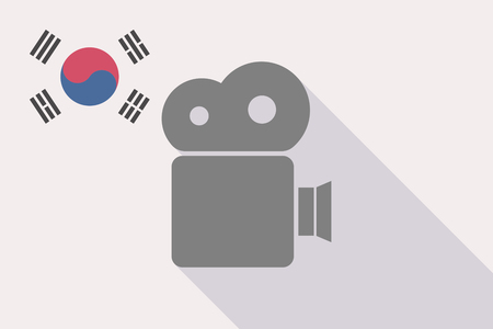 Illustration of a long shadow South Korea flag with a film camera