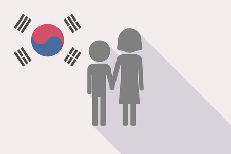 Illustration of a long shadow South Korea flag with a childhood pictogram Illustration