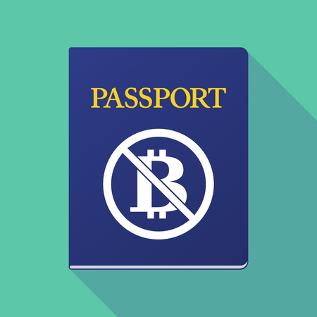 documentation: Illustration of a long shadow  passport with  a bitcoin sign  in a not allowed signal