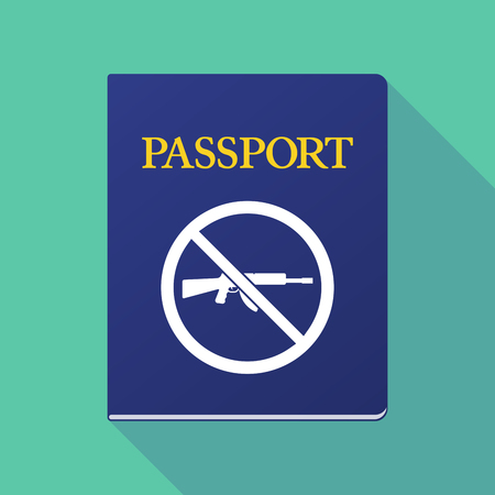 allowed to pass: Illustration of a long shadow  passport with  a rifle  in a not allowed signal Illustration