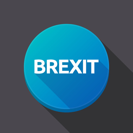 Illustration of a long shadow round web button with  the text BREXIT