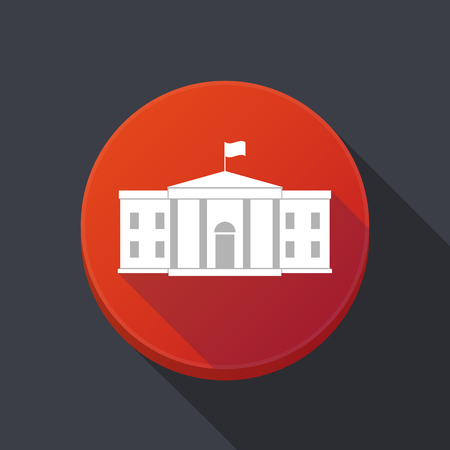 Illustration of a long shadow round web button with  the White House building