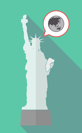 Illustration of a long shadow statue of liberty with a comic balloon and  an Asia Pacific world globe map Illustration