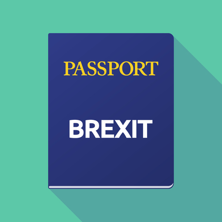 Illustration of a long shadow  passport with  the text BREXIT