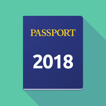 documentation: Illustration of a long shadow  passport with  the number 2018 Illustration