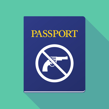 Illustration of a long shadow  passport with  a gun  in a not allowed signal