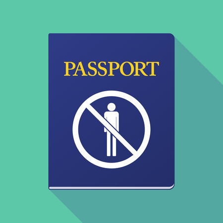 allowed to pass: Illustration of a long shadow  passport with  a male pictogram  in a not allowed signal