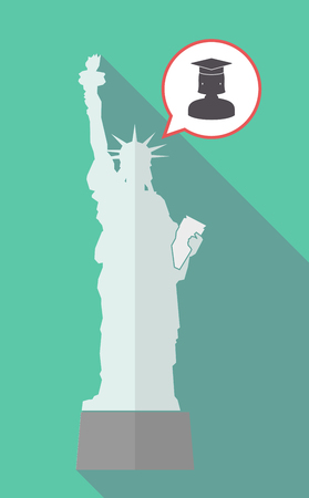 Illustration of a long shadow statue of liberty with a comic balloon and  a female graduated student Illustration