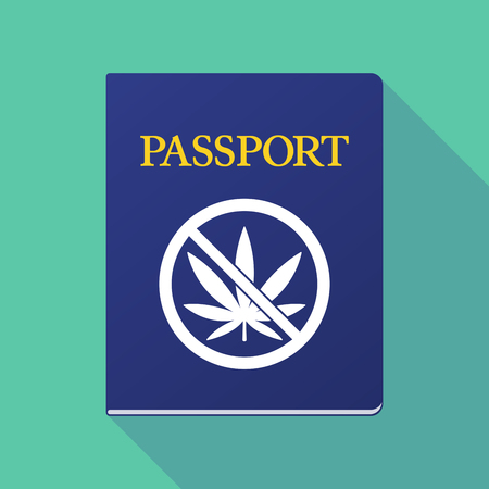 allowed to pass: Illustration of a long shadow  passport with   a marijuana leaf  in a not allowed signal