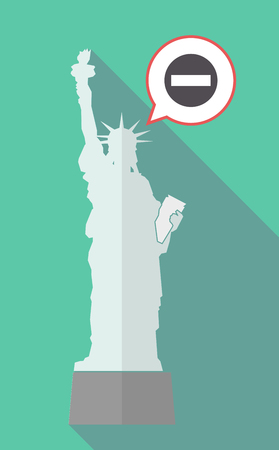 Illustration of a long shadow statue of liberty with a comic balloon and  a no trespassing signal