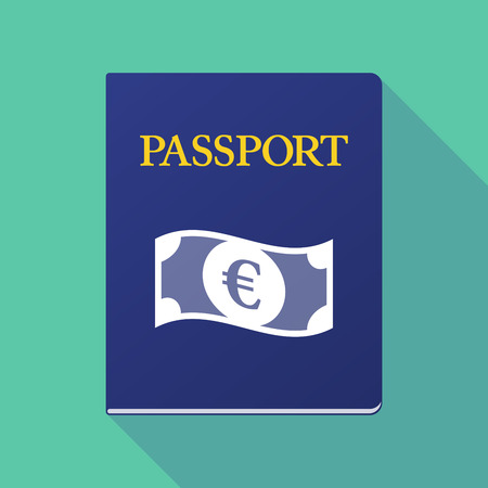 documentation: Illustration of a long shadow  passport with  an euro bank note Illustration