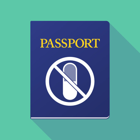 documentation: Illustration of a long shadow  passport with  a pill  in a not allowed signal Illustration