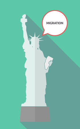 Illustration of a long shadow statue of liberty with a comic balloon and  the text MIGRATION