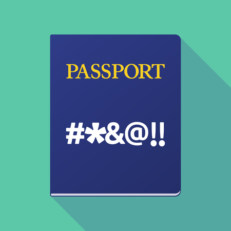 cursing: Illustration of a long shadow  passport with  a cursing text Illustration