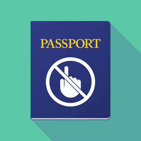 Illustration of a long shadow  passport with  a touching hand  in a not allowed signal