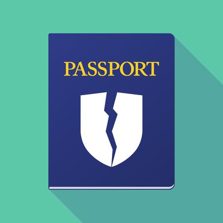 emigration: Illustration of a long shadow  passport with  a broken shield Illustration
