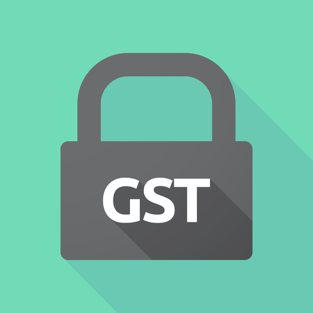 Illustration of a long shadow lock pad with  the Goods and Service Tax acronym GST