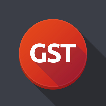 Illustration of a long shadow round web button with  the Goods and Service Tax acronym GST